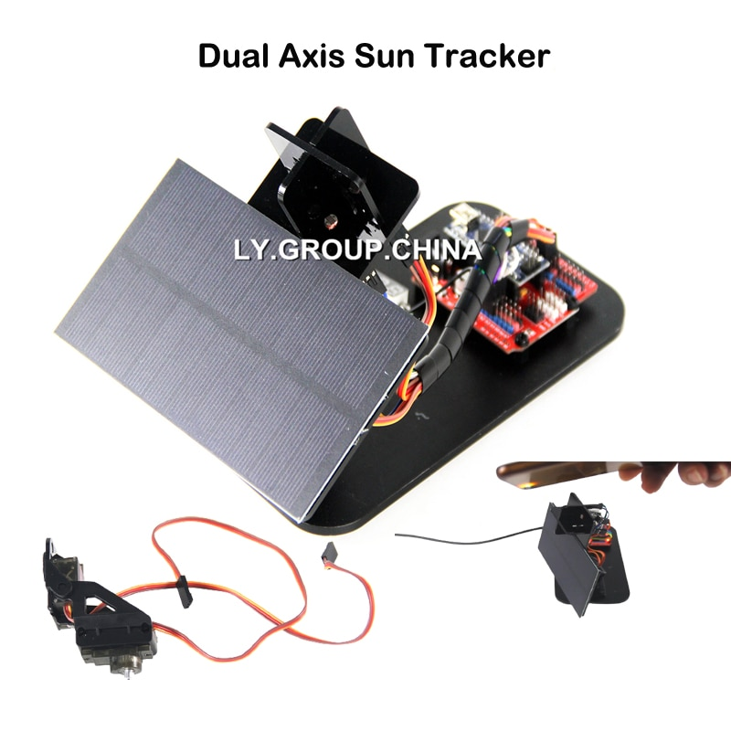 Suntracker DIY Mini Dual Axis Solar Tracker Sun Tracker Kit with Open Source Software for School Learning of Nano G-code Serve