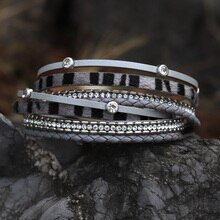 Bracelets for Woman 2021 Fashion Multilayer Genuine Leather Chain Crystal Jewelry Bracelet Gifts Fem