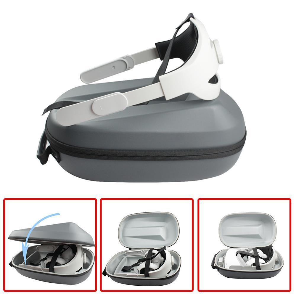 2in1 para oculus quest 2 cabeça cinta caixa de armazenamento protable transporte caso de armazenamento protetor com jogos fones de ouvido vr acessórios