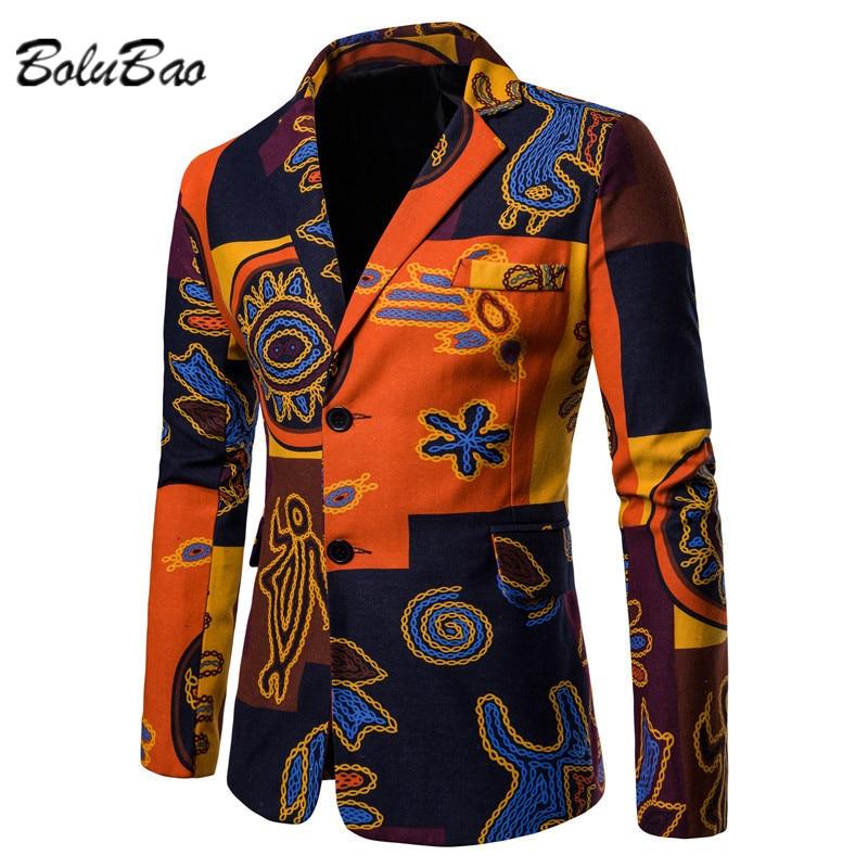 BOLUBAO الرجال العرقية تصميم البدلة السترة قميص مطبوع برقبة مستديرة عادية الرجال البدلة ربيع الخريف صف واحد اثنين زر سليم البدلة