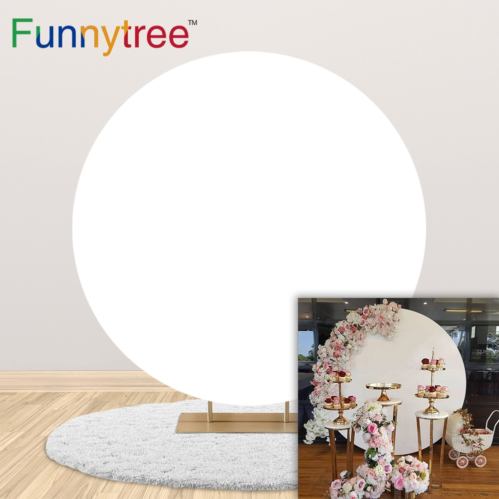 Funnytree-خلفية دائرية بيضاء نقية مخصصة ، ديكور حفلات أعياد الميلاد وحفلات الزفاف ، كشك الصور