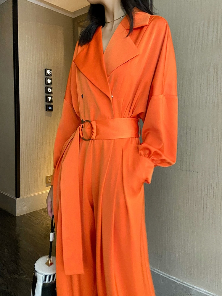 VKBN Jumpsuit Women Casual Loose Wide Leg Orange High Quality Long Sleeve Jumpsuits for Women Spring Autumn Full Length Pants enlarge