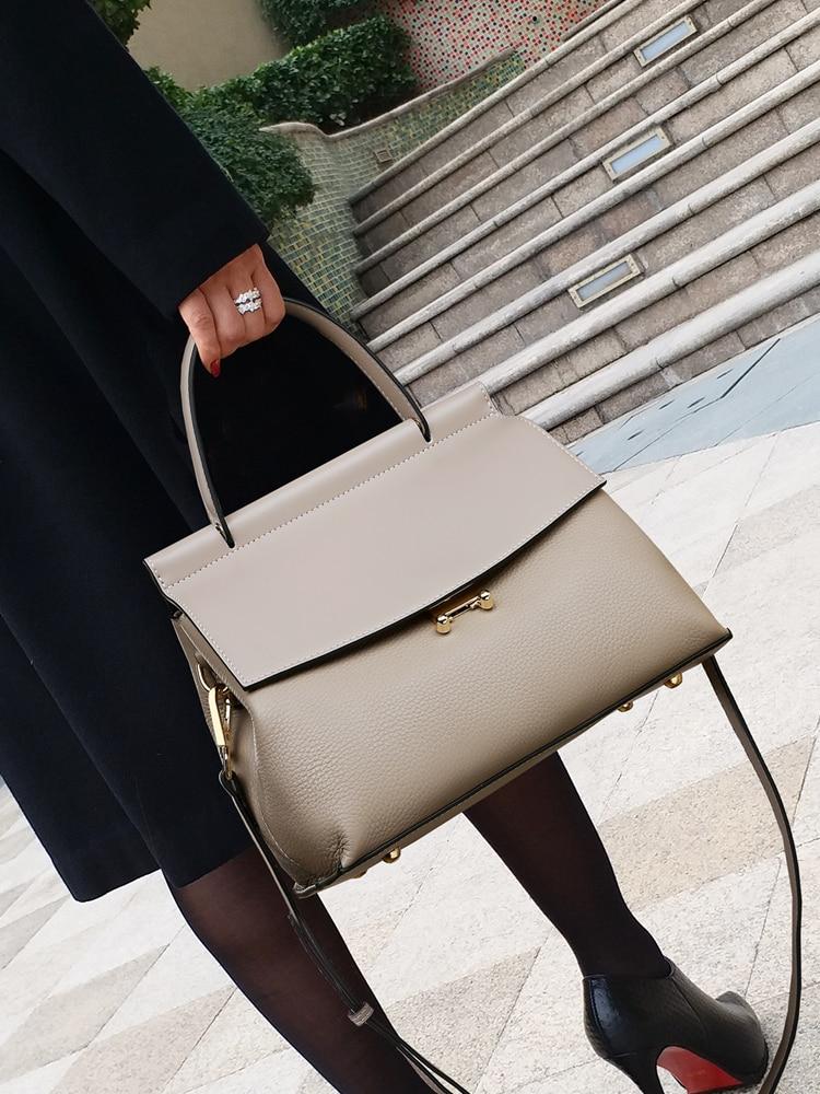 100% Genuine Leather Handbags 2021 New Large-capacity Messenger Versatile Simple Ladies One-shoulder Portable Fashion Luxury Bag