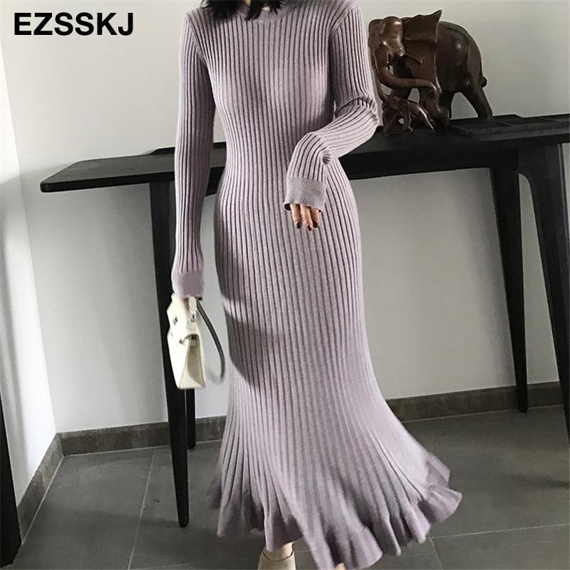 2021 autumn winter thick mermaid maxi sweater dress women o-neck long sweater dress elegant female a-line slim sexy knit dress