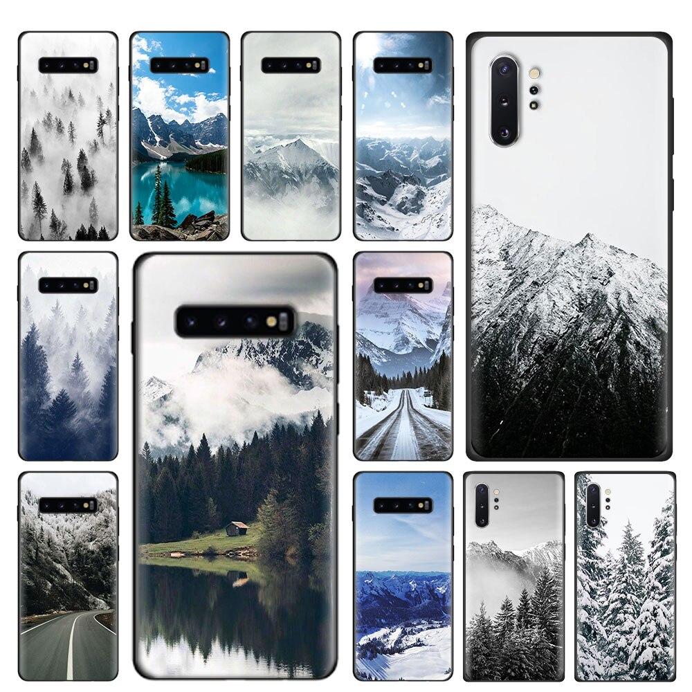 Étui pour samsung souple Galaxy S8 S9 S10 S20 Plus Note 8 9 10 Plus S7 S10e S20 Ultra 5G couverture blanc montagne pin arbre forêt