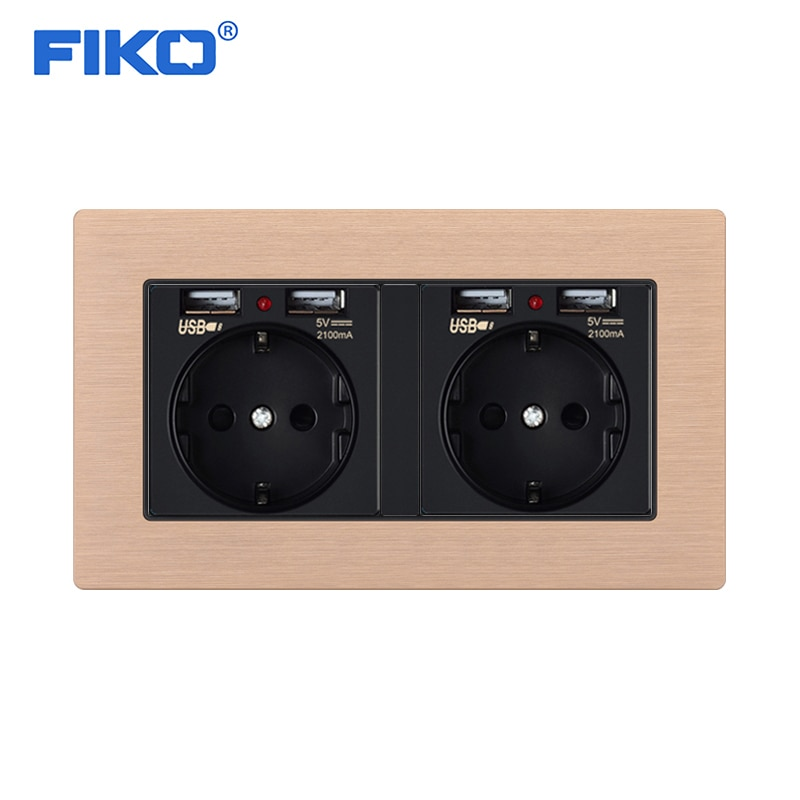 FIKO-مقبس حائط قياسي أوروبي 16 أمبير ، مع USB مزدوج ، لوحة من سبائك الألومنيوم 146 × 86 مللي متر ، 4USB قياسي