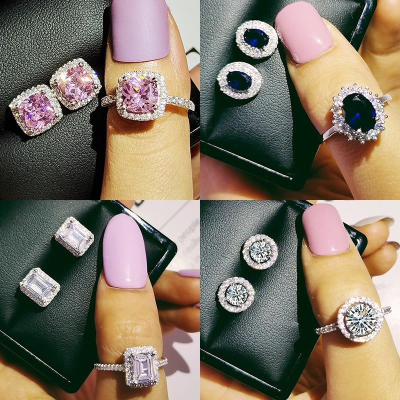 Moda de luxo rosa azul 925 prata esterlina conjunto jóias para casamento feminino dubai anel brinco festa presente natal jewlery z8