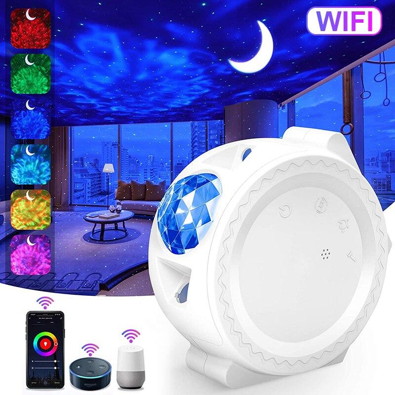 Умный проектор звездного неба, проектор Galaxy 3 в 1, ночник, голосовое управление океаном, музыка, светодиодная лампа, подарок для детей, умный о...