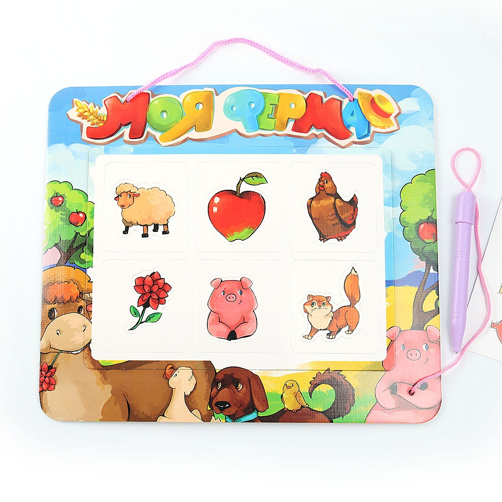 Paper Magnetic Drawing Board Children Creative Russian Writing Stencil Painting Learning Educational Toys Blackboard Kids Gift wood figurines easel racks double sided magnetic small blackboard brackets baby painting board wooden drawing educational toys