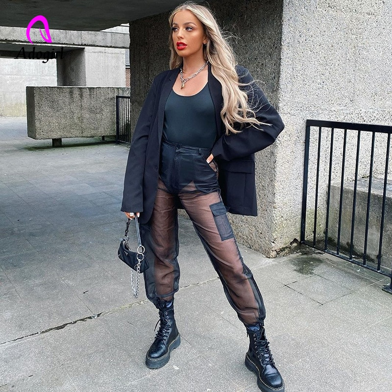 Harajuku malla transparente cintura alta pantalones Cargo Patchwork pantalones de chándal negro moda Summe mujeres transparente nuevos pantalones sueltos