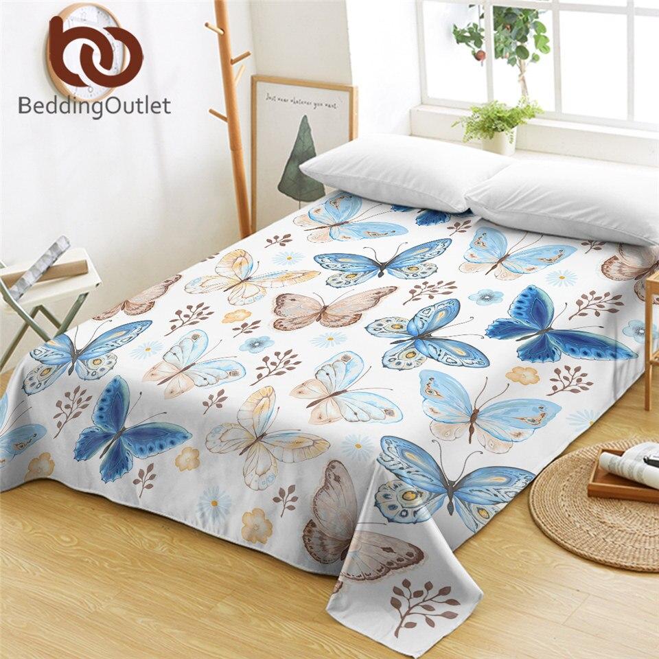 BeddingOutlet-ملاءة مسطحة ملونة على شكل فراشة ، بياضات سرير مطبوعة من الألياف الدقيقة ، قماش ناعم