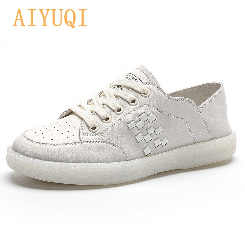Women's Sneakers Genuine Leather 2021 Spring New Casual Large Size 41 42 Girls Loafers Fashion Soft Sole Student Shoes Ladies