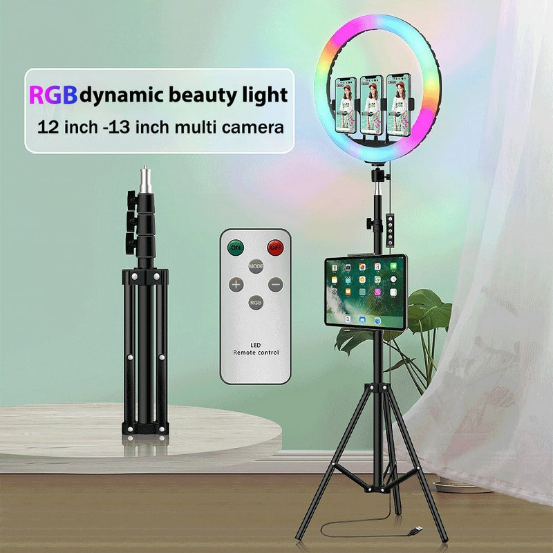 godox sl series led continuous video light slb60w 60w 8700mah li ion battery with remote control charger for photography 12/13 Inch RGB Ring Light With Tripod Profissional Photography Lighting With Remote Control For Youtube Video Lighting Led Lamp