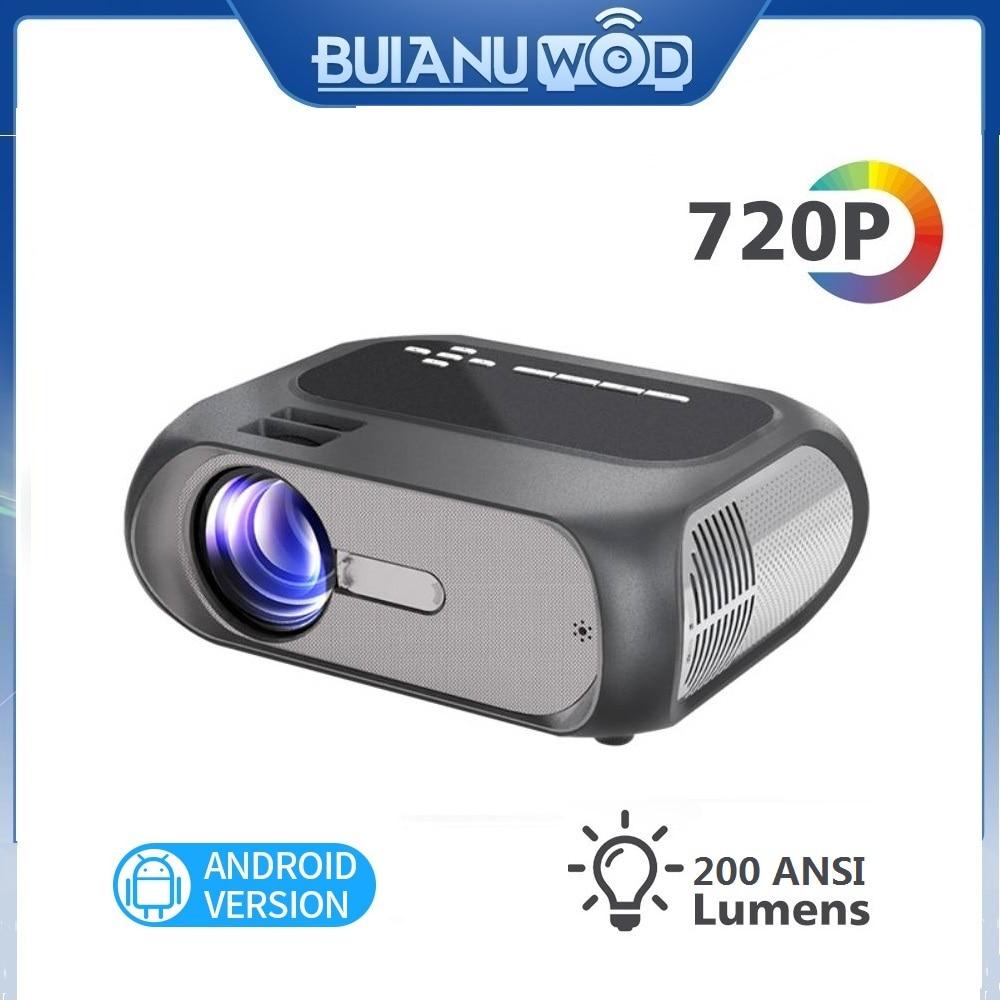 Buanuwod, 2020, nuevo, Cine en Casa T7, 720P, 200 ANSI LED de 200 pulgadas, proyector inteligente Android 10, compatible con 4K, 1080P, proyector Full HD