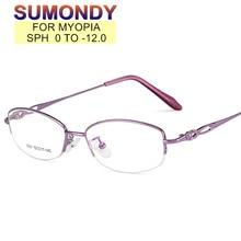 SUMONDY Prescription Glasses For Nearsighted SPH 0 to -12 Women Custom-made Ellipse Titanium Alloy F