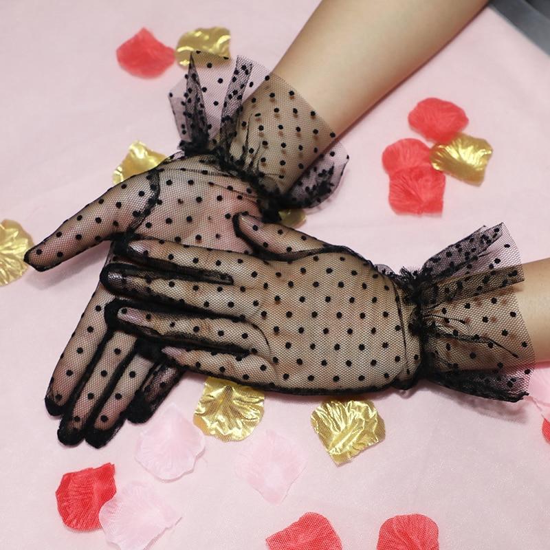 Dames sexy dot print zwart wit mesh tule handschoenen vrouwelijke - Bruiloft accessoires - Foto 6