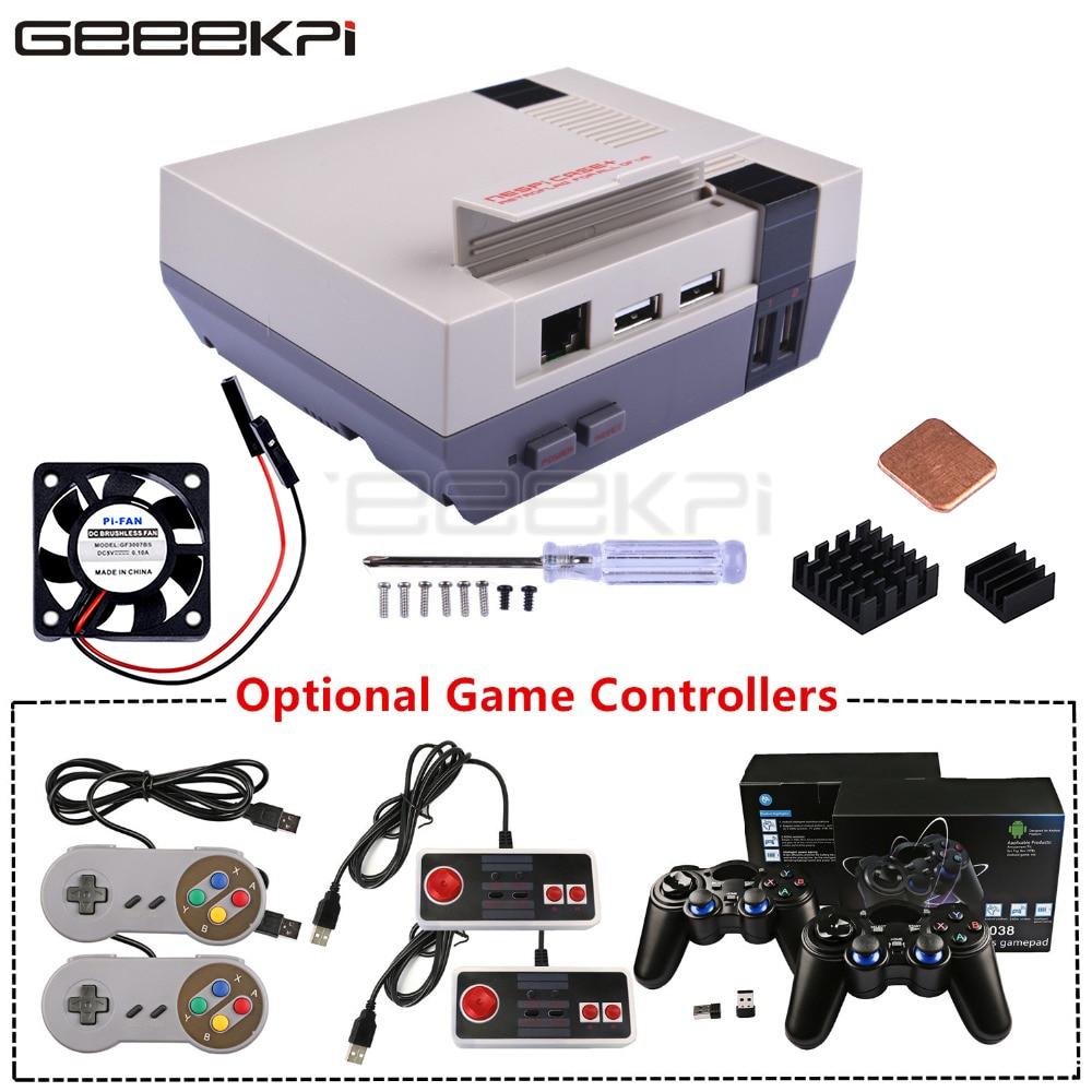 Набор для игр GeeekPi NESPi Case + Plus Retroflag с вентилятором + Опциональные беспроводные игровые контроллеры SNES/Turbo/2,4G для Raspberry Pi 3 B +/3/2B
