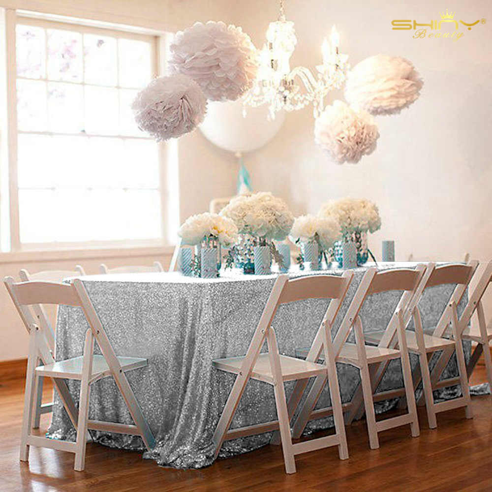 Nappe à paillettes 90x132 pouces nappes rectangulaires argent Sequin couverture de Table pour la maison et la cuisine décorations de mariage-M