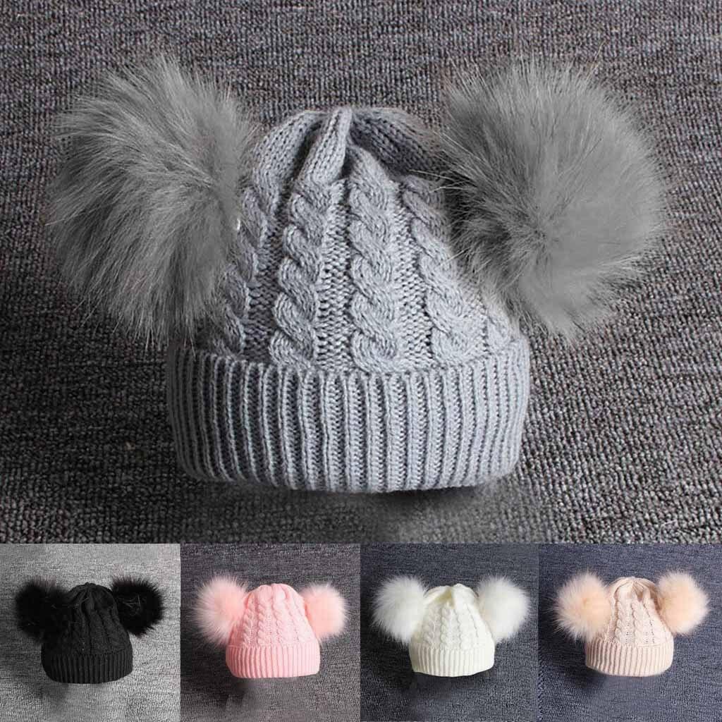 Niños gorro de niña niños tejer lana Hemming gorro para mantenerse caliente invierno bola Gorro con pompón de pelo de 1-6 años los niños M800 #