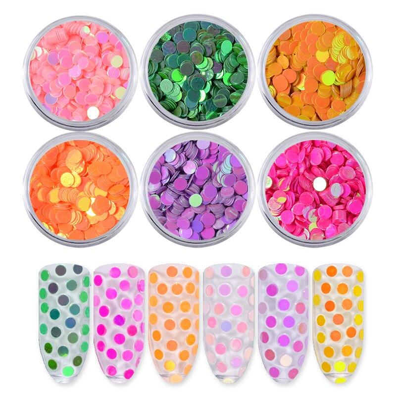 1 conjunto ultrafinos lantejoulas círculo colorido unha arte glitter dicas gel uv 3d decoração do prego manicure diy accessorie