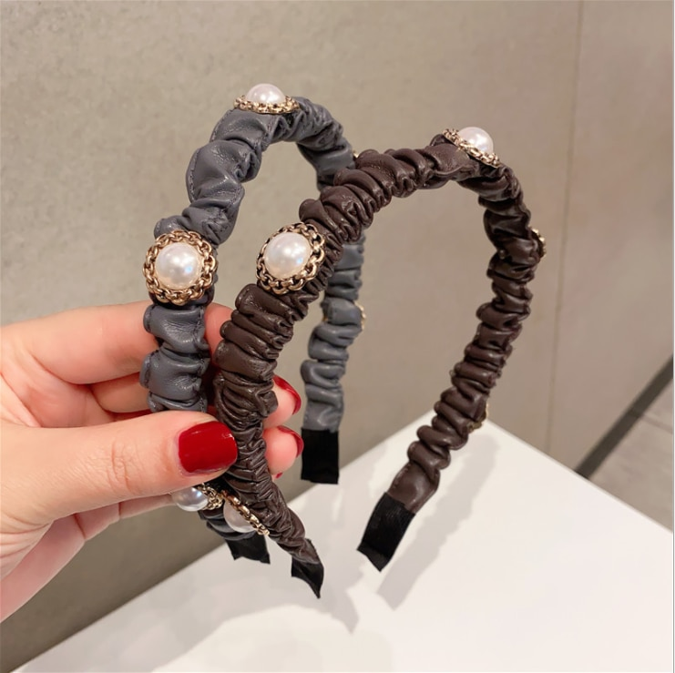 women headbands Folded temperament pearl simple hairbands PU leather hair hair accessories