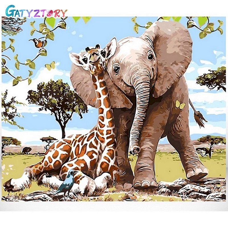 GATYZTORY DIY Painting By Numbers Elephant And Giraffe HandPainted Oil Drawing On Canvas Wall Decor