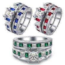 2 pièces Vintage vert Zircon anneau ensemble rose anneaux de mariage pour Woemn femme bague de fiançailles mode Bule anneaux dames accessoires