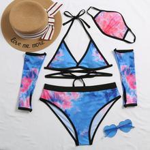 Sexy Bikinis Women 2020 New Fashion 4 Piece Set Bikini Costume Trikini Matching And Face Mask Set Bikini Sexy Swimsuit Swimwear