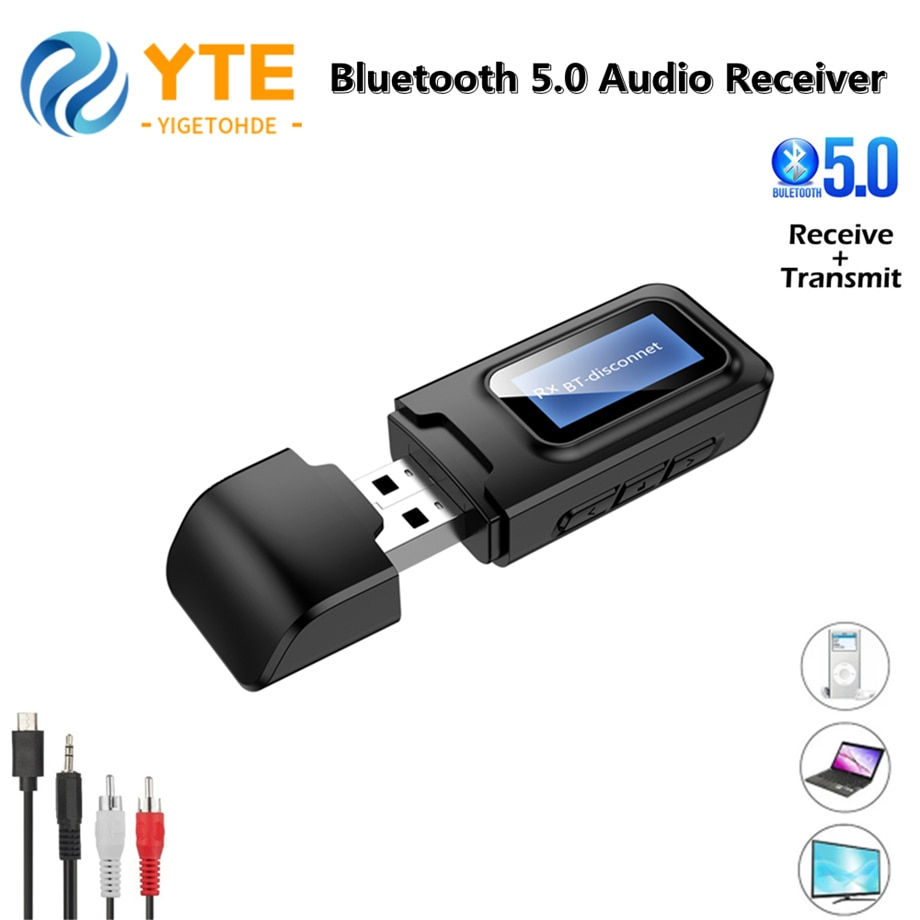 YIGETOHDE BT10 USB Bluetooth 5.0 + EDR + LCD Display Audio Receiver Transmitter For TV PC Driver-Fre