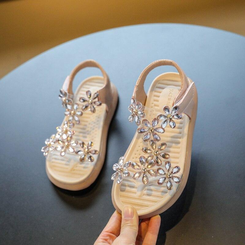Children Sandals Shoes Girls Flower Princess Kids Party Fashion Summer Hook & Loop Crystal Leather T