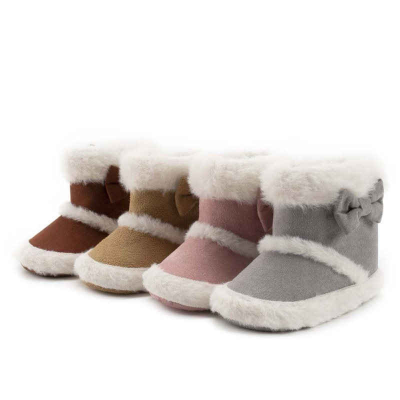 Winter New Baby Girl Plus Velvet Warm Shoes Infant Soft Sole Non-slip Bowknot Snow Boots Newborn Toddler 0-18 Months