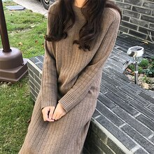 2019 Plus Size Long Sleeve Knitting Sweater Winter Maxi Bodycon Loose Skater Fashion Dress Warm Elegant For Women Ladies Dresses