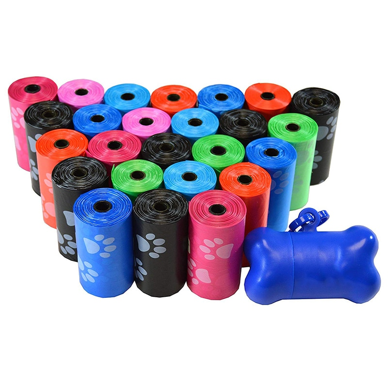 10 rolos de impressão de pata saco de cocô de cachorro 15 sacos / rolo sacos de lixo de gato grandes sacos de lixo para cachorros ao ar livre e em casa