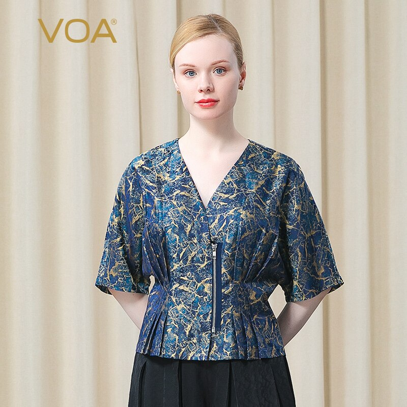 VOA Silk Yarn-dyed Jacquard 24m/m V-neck Harajuku Tops BE529 Zipper Placket Lotus Pleat Hem Commuter Middle Sleeve T-Shirt Woman