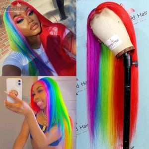 Preferred Half Red Rainbow Human Hair Highlight Wig Brazilian Remy 13x4 Straight Lace Front Wig Transparent Lace Wigs For Women