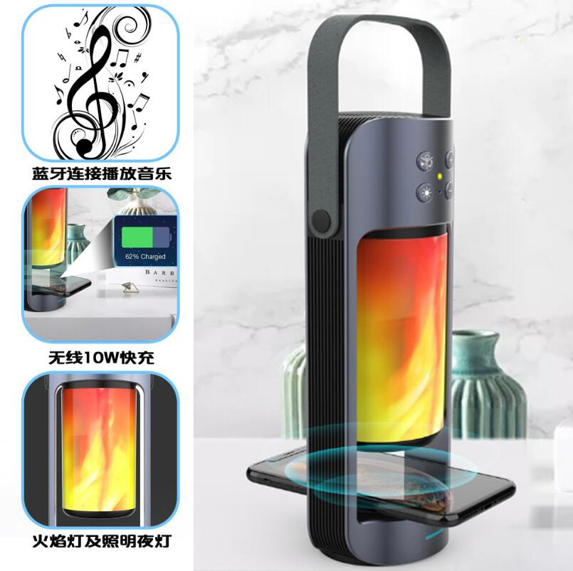 Flame Light Wireless Charger Bluetooth Speaker Multifunctional Outdoor Emergency Light With Power Bank Mobile Power Supply enlarge