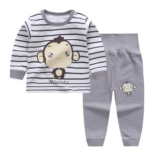 Spring and Autumn new children's pajamas set cotton children's home wear high waist belly-protective pants set