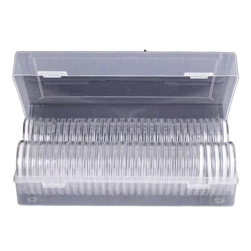 Afbc 46mm cápsulas de moeda redonda de plástico caso titular da moeda e 7 tamanhos (16/20/25/27/30/38/46mm) proteger gaxeta