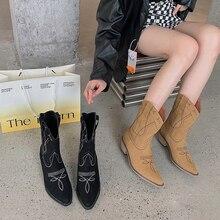 Western Women Boots Flats Mid Heels Black/Brown Slip On Mid Calf Booties Winter Retro Booties Sewing