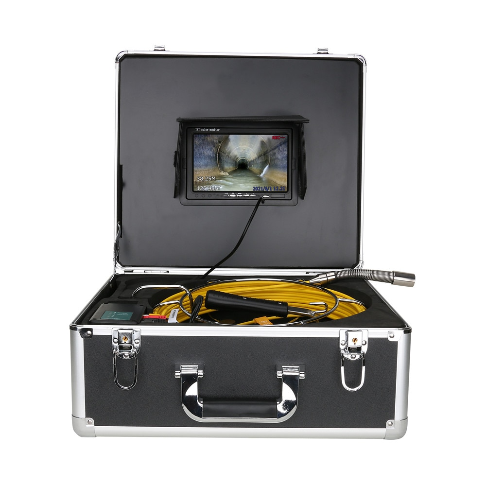 7 inch DVR Sewer Pipe Inspection Video Camera with Meter Counter Auto Self Leveling 512HZ Pipe Locator 22MM IP68 1000TVL Camera