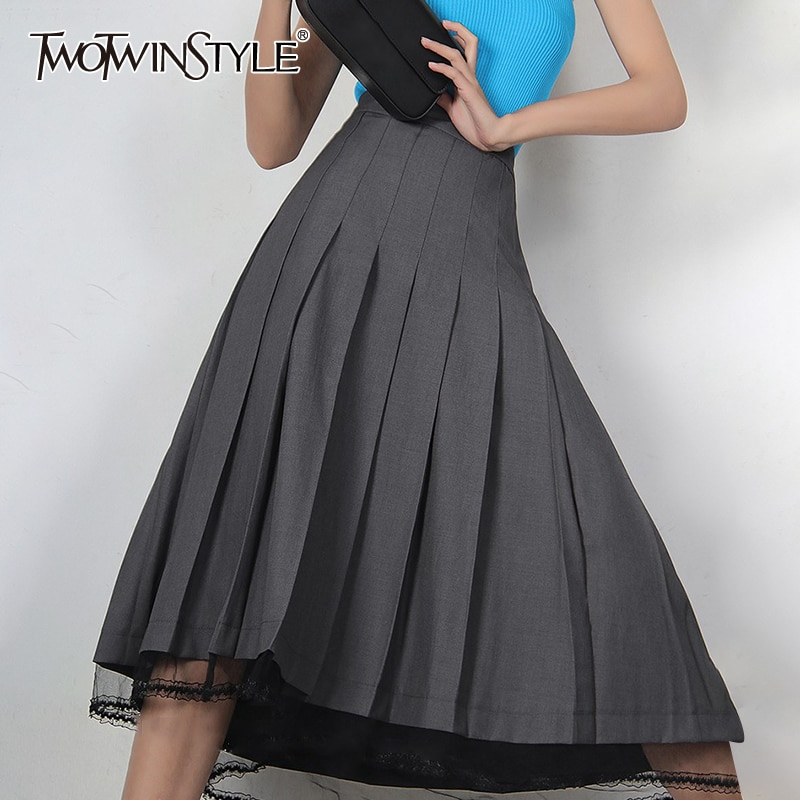 TWOTWINSTYLE تنورة طويلة من الدانتيل الرمادي تنورة الإناث عالية الخصر الكورية موضة ضئيلة ميدي تنورة خط للنساء 2021