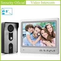 9 inches tft lcd color touch screen door intercom kits wired rfid video door phone memory 32gb tf card doorbell camera for villa