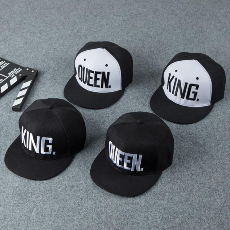 Sombreros deportivos ajustables de algodón y poliéster para la cabeza accesorios de ropa deportiva al aire libre gorra de ala plana reina/rey bordado