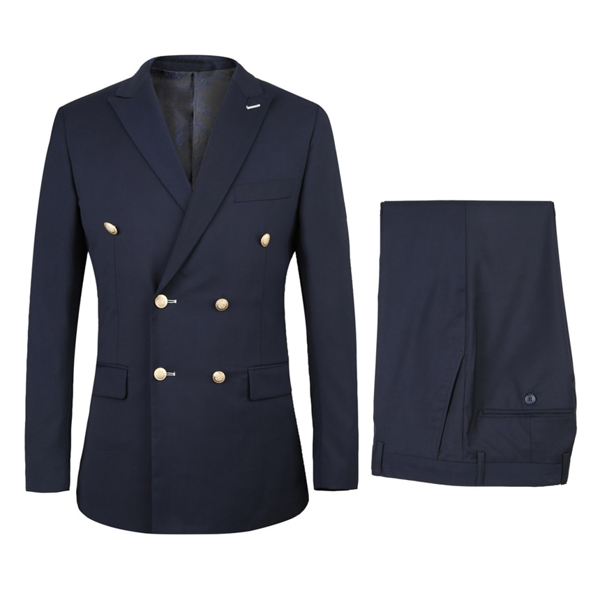 Double Breasted Groom Tuxedos Peaked Lapel Man blazer for Groomsman Suit Custom Made Man Suit Navy B