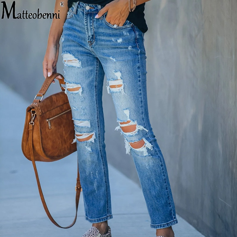 Fashion Mid Waist Ripped Women Jeans Vintage Hole Denim Pants Holes Destroyed Straight Pants Casual Trousers Spring Winter Jeans fashion jeans pants women low waist elastic destroyed hole frayed leggings джинсы plus size denim shorts knee ripped trousers