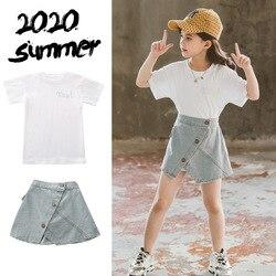 2020 verão crianças bebê meninas roupas sexy adolescente branco t camisa + jeans shorts saias 3 4 5 6 7 8 9 10 11 12 anos