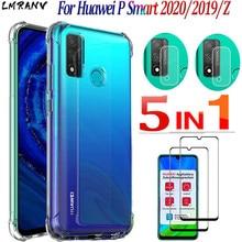 5-in-1 hoesje P Smart 2020 siliconen schokproof Case Huawei P Smart2020 transparant hoesje+glas+Camera lens,Soft TPU telefoon accessoires Duidelijke beschermhoesjes Huavei PSmart 2020 P Smart 2019 Z 2018 airbag Case