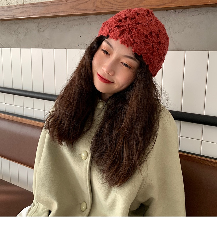 Badamana 2020 nova moda mão crochê tricô chapéu chapéu do vintage para feminino primavera outono rendas decoração chapéu beanies chapéu