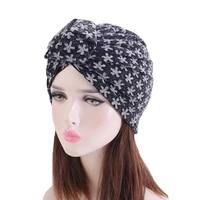 new retro national style knoted headband hat bright silk hijab hat women head scarf