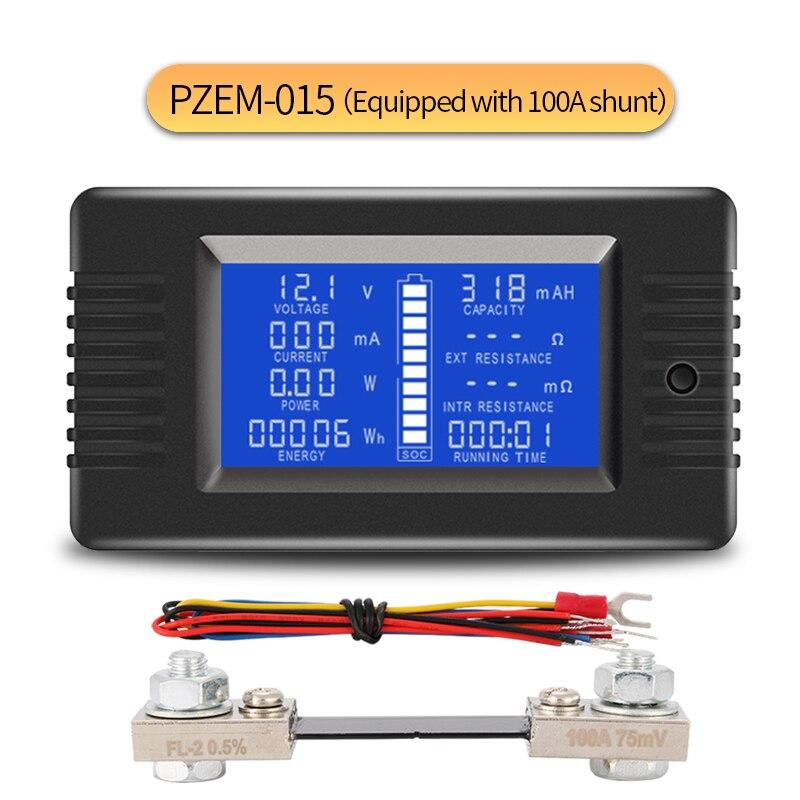 0-200v 0-300a testador de capacidade da bateria de carro energia resistência de impedância amperímetro voltímetro energia medidor 100a shunt